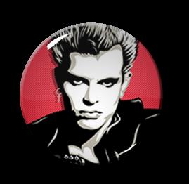 """Billy Idol - Pink 2.25"""" Pin"""