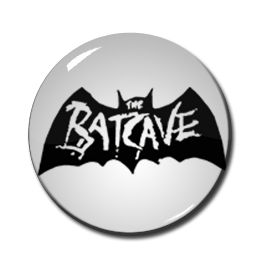 "Batcave - White Logo 1"" Pin"