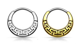 Maze Tribal Fan Design 316L Surgical Steel Round Septum Clicker