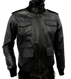 Black Zip-Up Leather Eduardo Aviator Bomber Jacket