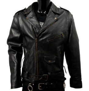 Black Biker Leather Jacket with Pads