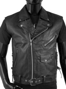Black Biker Leather Vest
