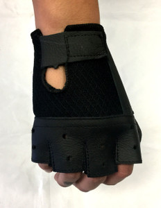 Fingerless Biker Leather Gloves with Velcro Closure