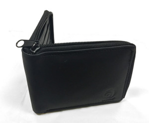 Black Zip-Around Leather Wallet