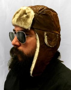 Tan Brown Fur Leather Aviator Hat