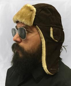 Brown Nubuck Leather Aviator Hat