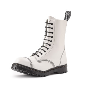 Gripfast 10 Eyelet Steel Toe Boot in White Made in England