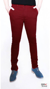 BRK Jeans - Chino Style Skinny Jeans in Burgundy