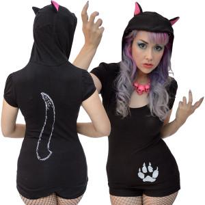 Kreepsville 666 - Black Cat Hoodie Tunic Top