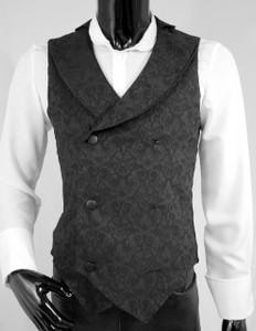 Black Mens Vampire Brocade Vest