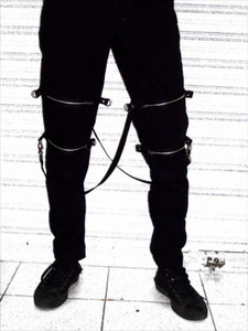 Black Mens Skinny Bondage Pants