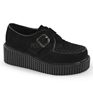 Women's Buckle Suede Creepers by Demonia