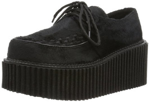 Women's Black Suede Creepers by Demonia