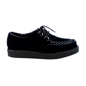 Black Suede Leather Low Sole Unisex Creepers
