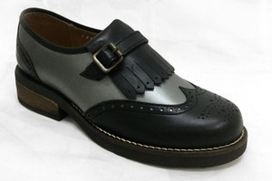 Omarelo Venne - Black and Silver Grey Ladies Loafers Shoes Retro style