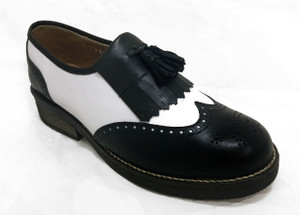 Omarelo Venne - Black and White Leather Wingtip Style Brogue Loafers