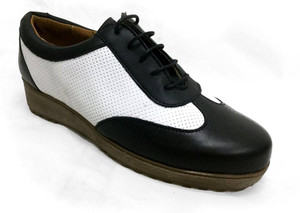 Oxford Style Leather Sneaker in Black with White