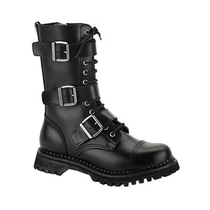 Leather Steel Toe Lace-Up Triple Buckle Combat Boots