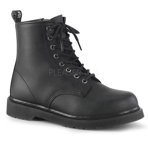 Black Classic P-leather Unisex Combat Boots by Demonia