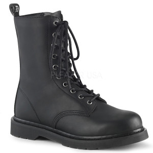 Black P-leather 10 Eye Unisex Boots by Demonia