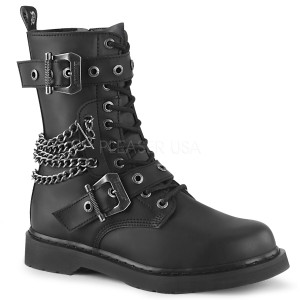 Black P-leather 10 Eye Chained Unisex Combat Boots by Demonia
