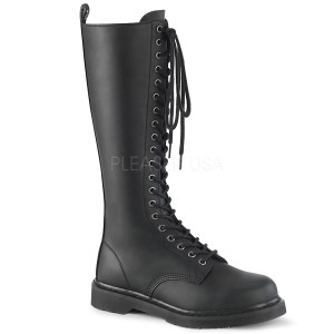 Black P-leather 20 Eye Unisex Combat Boots by Demonia