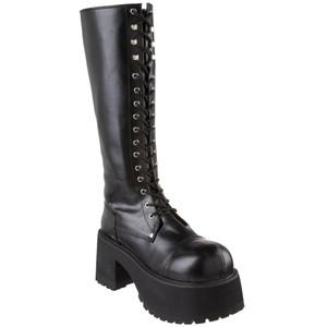 "3 1/2"" Block Heel Unisex Platform Boots by Demonia"