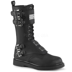 "3 1/2"" Heel 4 Buckle Unisex Boots by Demonia"