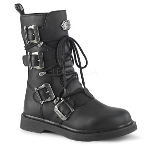 Black Biker 4 Buckle Unisex Boots by Demonia