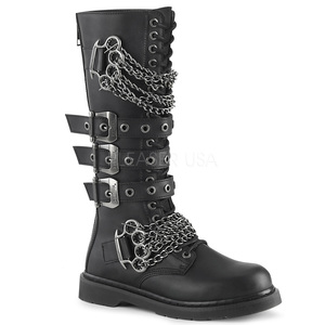 Black Chained Punk 20 Eye Unisex Brass Knuckle Boots by Demonia