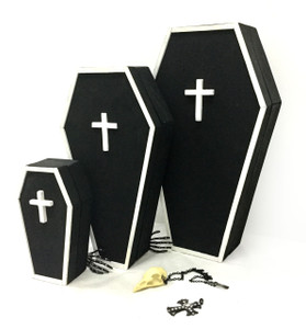 Large Coffin Jewelry Trinket Box with Mirror