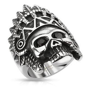 Apache Headress Skull with Black Gemmed Eyes Cast Ring