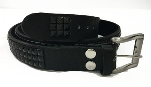 Leather Belt with Black Pyramid Studs
