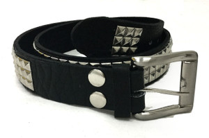 Leather Belt with Chrome Pyramid Studs