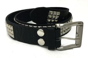 Black Leather Belt Triple Row Chrome Pyramid Studs