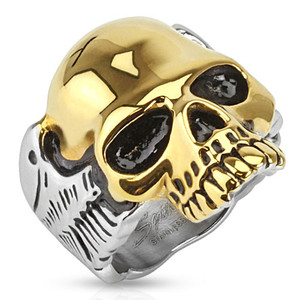 Two Tone Gold IP Skull Biker Ring