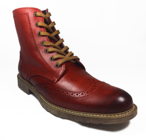 Red Leather Brogue Oxford Style 7 Eye Boots