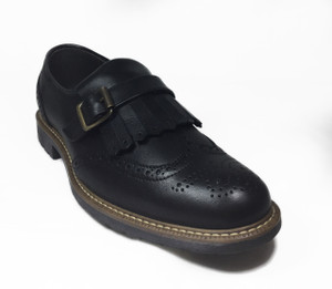 Omarelo Venne - Black Leather Monk Brogue Loafer Shoe