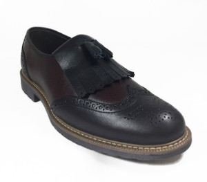 Omarelo Venne - Black/Burgundy Leather Brogue Loafer Shoe