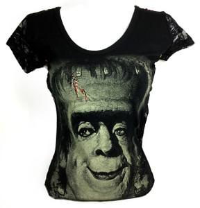 Herman Munster Girls T-Shirt with Mesh Sleeves