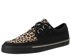 T.U.K. Shoes - A6142/A9181 Black Twill & Leopard Faux D-Ring Vegan VLK Sneaker