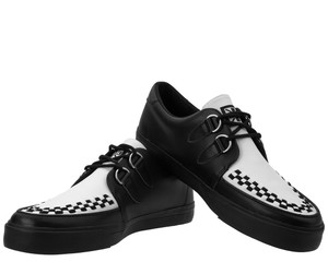 A9180 Black & White Leather D-Ring Sneakers
