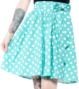 Sourpuss - Mint Polka Dot Swing Skirt