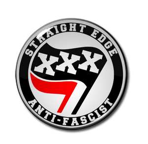 "Straight Edge Anti-Fascist 1.5"" Pin"