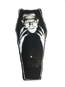 Frankenstein's Monster Coffin-Shapped Throw Pillow