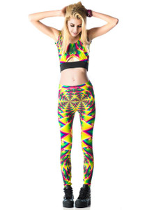 Lip Service - Psychedelic Fractals Printed Leggings