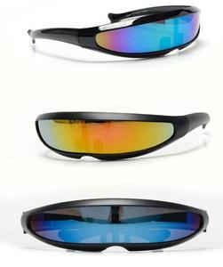 Futuristic Polarized Linear Sunglasses in Black