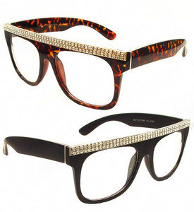 Rhinestone Wayfarer Eye Glasses