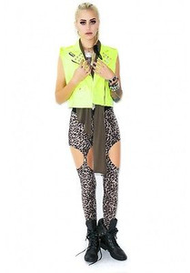 Neon Green Cropped Moto Vest