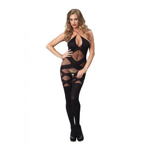 Opaque Sheer Illusion Bodystocking
